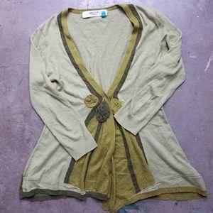 Anthro Color Block Sparrow Cotton Green Cardigan